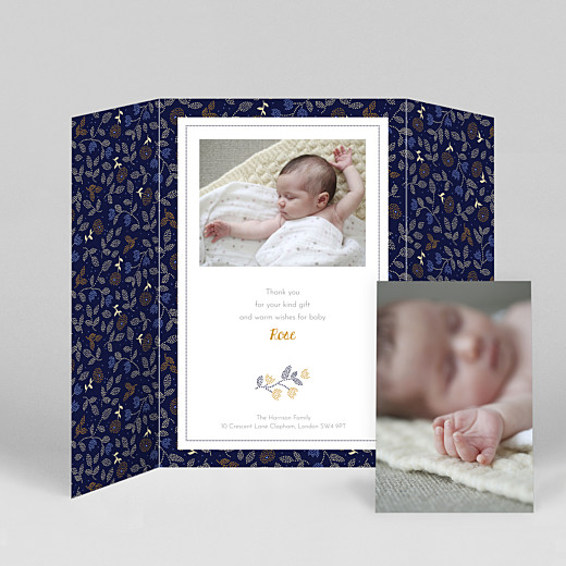 Baby Thank You Cards Floral embroidery (gatefold) portrait beige - View 2