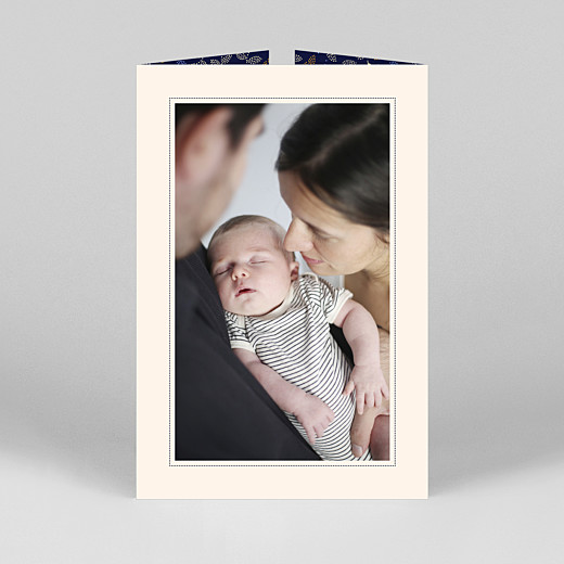 Baby Thank You Cards Floral embroidery (gatefold) portrait beige - View 3