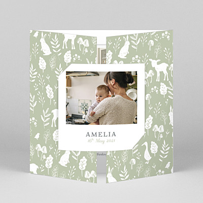 Fable (gatefold) green green baby thank you cards
