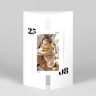 Timeless (gatefold portrait) white gatefold baby thank you cards