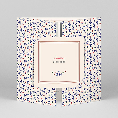 Liberty berries (gatefold) blue liberty baby thank you cards