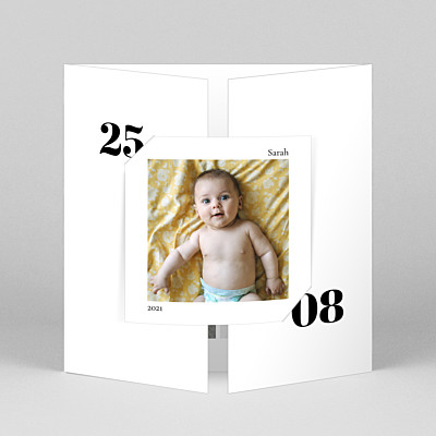 Timeless (gatefold) white gatefold baby thank you cards