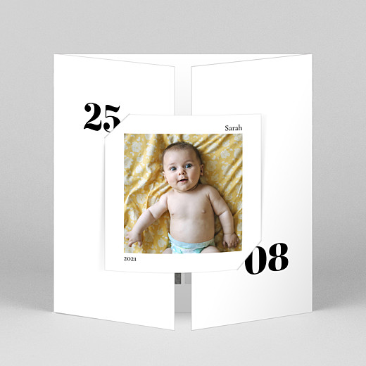 Baby Thank You Cards Timeless (gatefold) white - View 1
