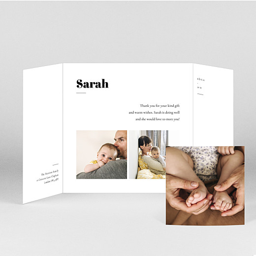 Baby Thank You Cards Timeless (gatefold) white - View 2