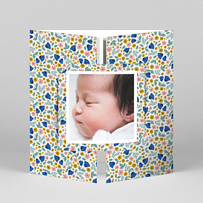 Seasonal blossoms (gatefold) spring blue baby thank you cards