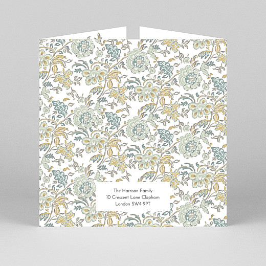 Baby Thank You Cards Victorian blossom (gatefold) blue - View 3