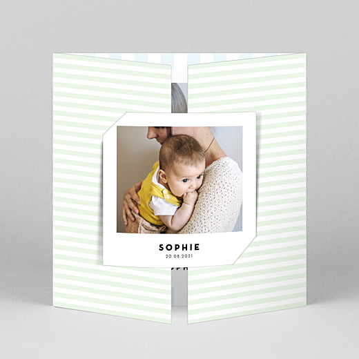 Baby Thank You Cards Pastel stripes (gatefold) blue - View 1