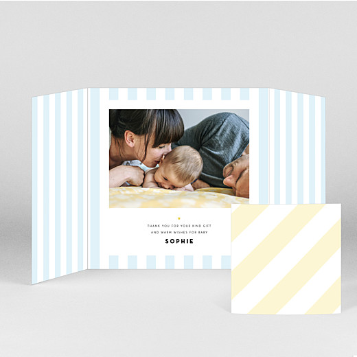 Baby Thank You Cards Pastel stripes (gatefold) blue - View 2