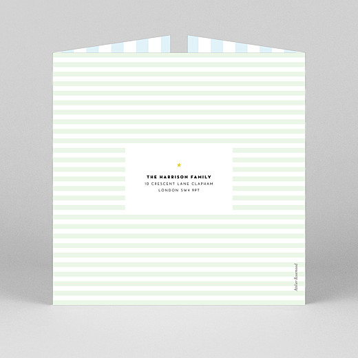 Baby Thank You Cards Pastel stripes (gatefold) blue - View 3
