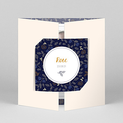 Floral embroidery (gatefold) beige liberty baby thank you cards
