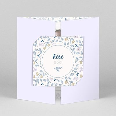 Floral embroidery (gatefold) violet purple baby thank you cards
