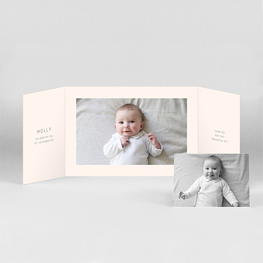 Baby Thank You Cards Lovely heart (gatefold) landscape pink - View 2