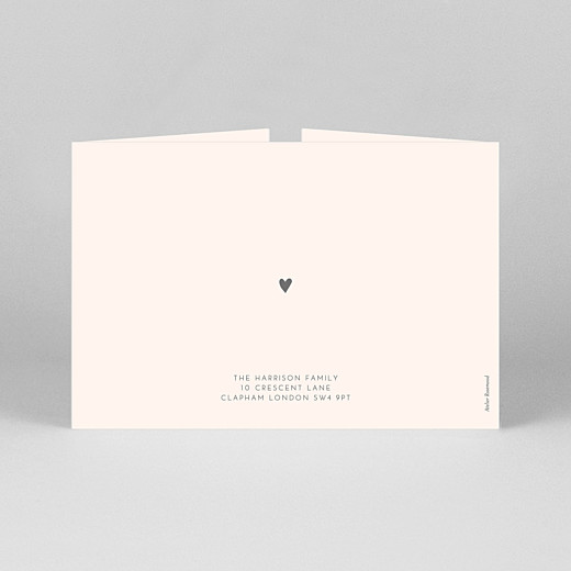 Baby Thank You Cards Lovely heart (gatefold) landscape pink - View 3