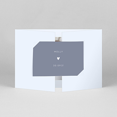 Lovely heart (gatefold) landscape blue purple baby thank you cards