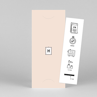 Picto column (bookmark) pink marion bizet baby thank you cards