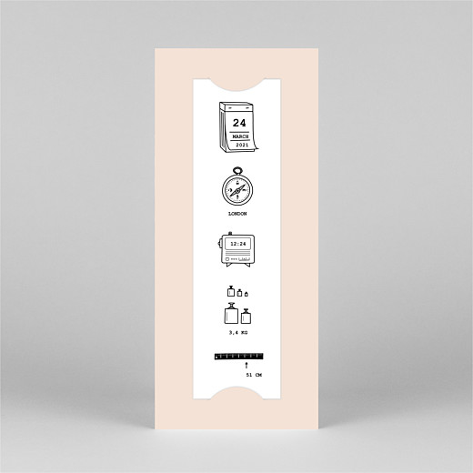 Baby Thank You Cards Picto column (bookmark) pink - View 2