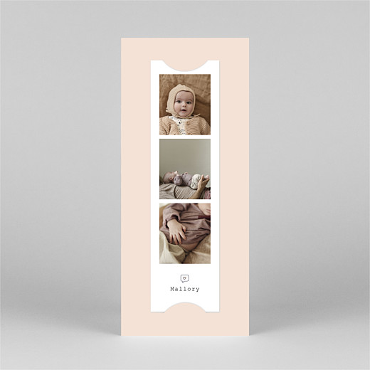 Baby Thank You Cards Picto column (bookmark) pink - View 3