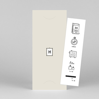 Picto column (bookmark) beige beige baby thank you cards