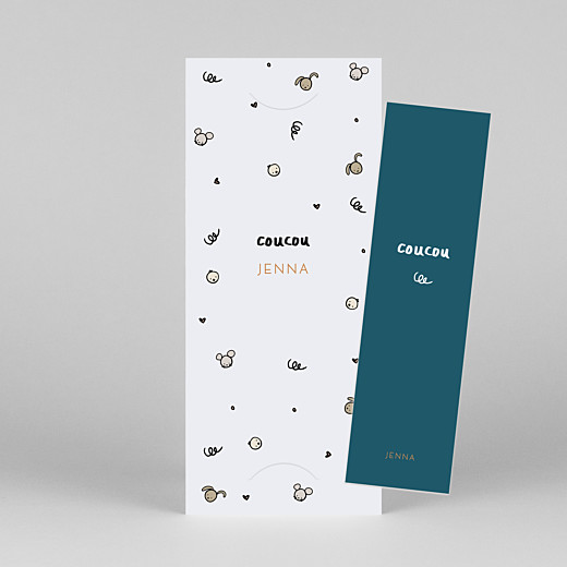 Baby Thank You Cards Coucou by mathilde cabanas (bookmark) teal orange - View 1