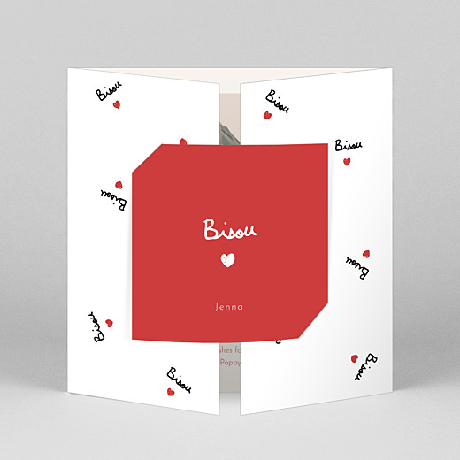 Baby Thank You Cards Bisou by mathilde cabanas (gatefold) red - View 1