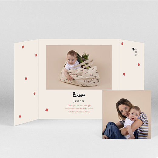 Baby Thank You Cards Bisou by mathilde cabanas (gatefold) red - View 2