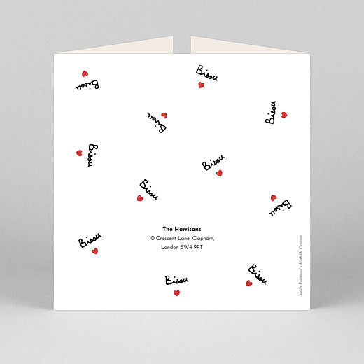 Baby Thank You Cards Bisou by mathilde cabanas (gatefold) red - View 3