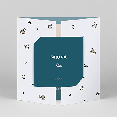 Coucou by mathilde cabanas (gatefold) blue gatefold baby thank you cards