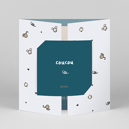 Baby Thank You Cards Coucou by mathilde cabanas (gatefold) blue - View 1