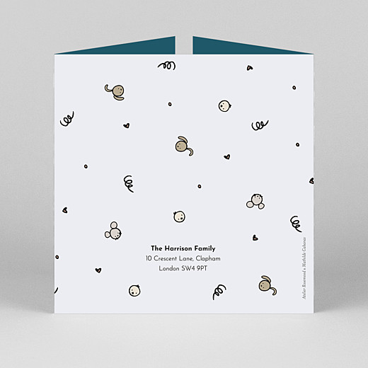 Baby Thank You Cards Coucou by mathilde cabanas (gatefold) blue - View 3