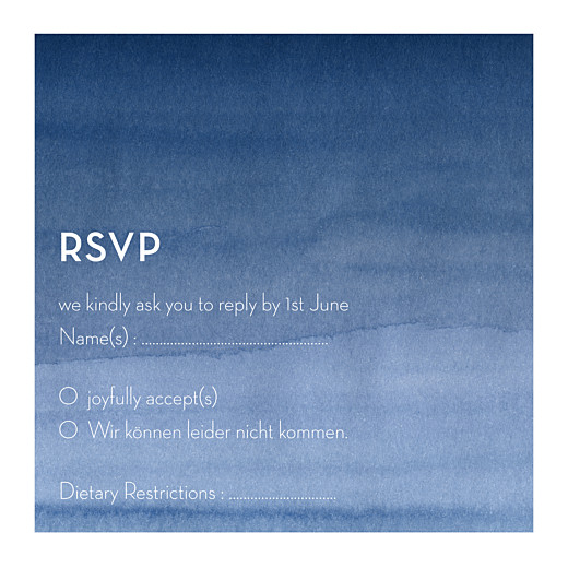 RSVP卡水彩作品(方形)蓝色
