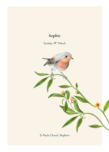 Christening Order of Service Booklets Flora and fauna white