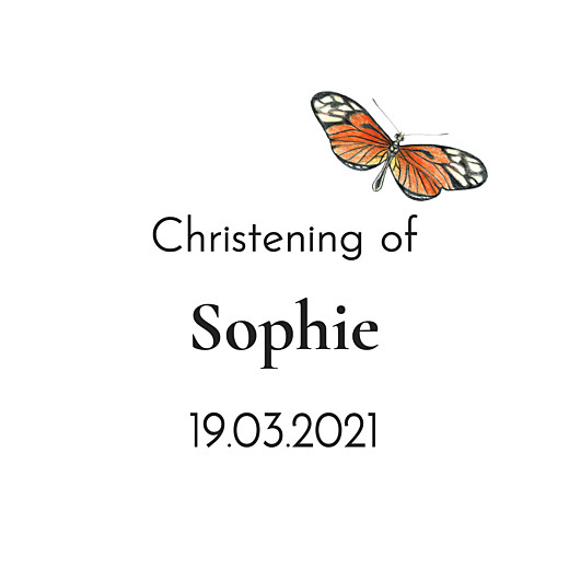 Christening Gift Tags Flora and fauna white