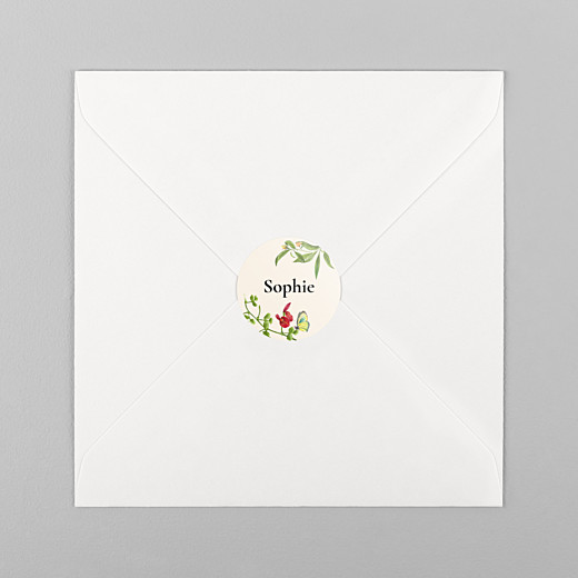 Christening Stickers Flora and fauna white - View 1