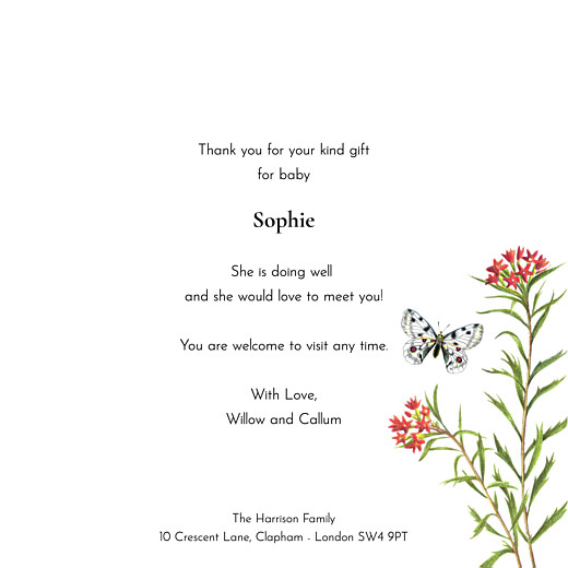 Baby Thank You Cards Flora & fauna blue tit - Page 3