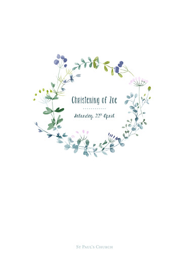 Christening Order of Service Booklets Watercolour meadow purple