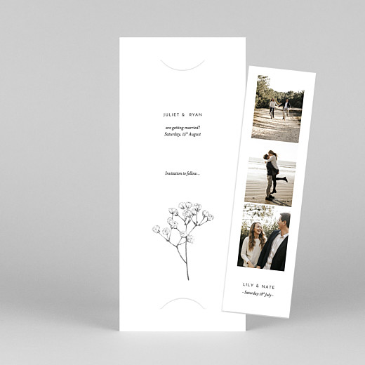 Save The Date Cards Gypsophila (bookmark) white - View 1