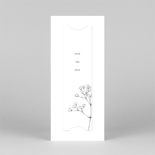 Save The Date Cards Gypsophila (bookmark) white - View 3