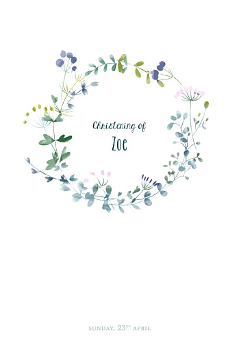 Christening Menus Watercolour meadow purple