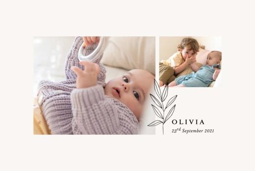 Baby Announcements Budding branch beige