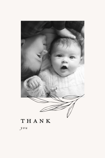 Baby Thank You Cards Budding branch beige