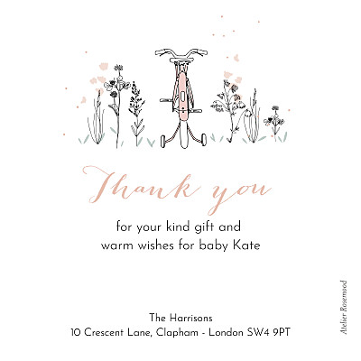 Baby Thank You Cards Family bike ride pink finition