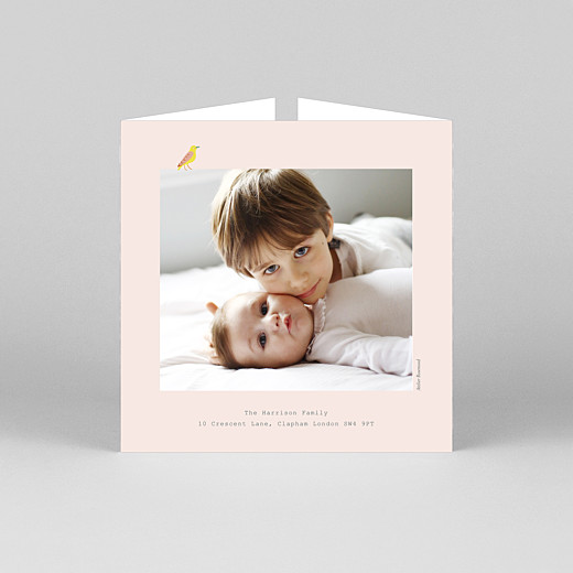 Baby Thank You Cards Birds of paradise pink - View 3