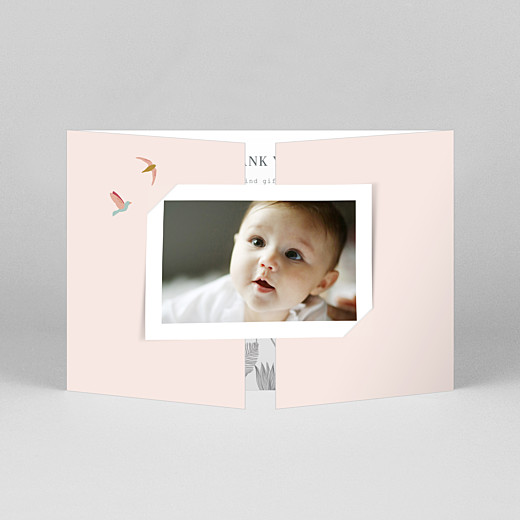 Baby Thank You Cards Birds of paradise gatefold landscape pink - View 1