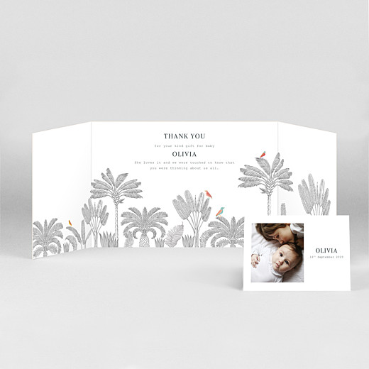 Baby Thank You Cards Birds of paradise gatefold landscape pink - View 2