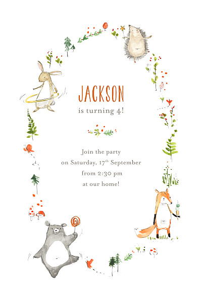 Kids Party Invitations Forest friends white finition