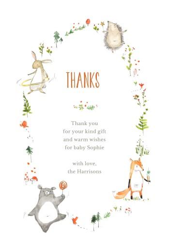 婴儿感谢卡森林的朋友白
