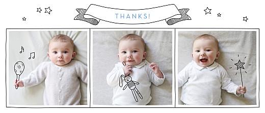 Baby Thank You Cards Panoramic pictos 3 photos white