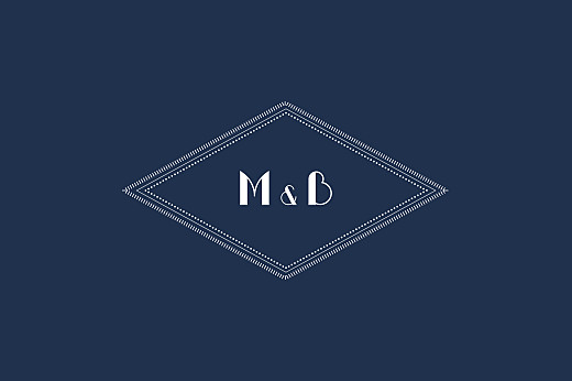 Notecards Monogram dark blue