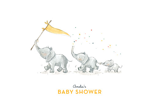 Baby Shower Invitations Elephant family yellow