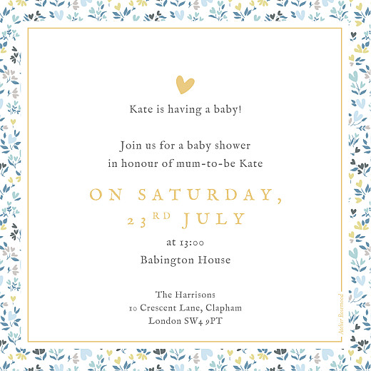 Baby Shower Invitations Liberty heart blue - Page 2